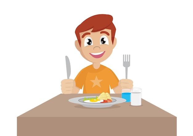 Het beeldverhaalkarakter, jongen eet ontbijt, vectoreps10