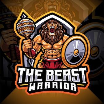 Het beest krijger esport mascotte logo