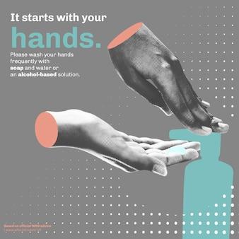 Het begint met je handen covid-19 sjabloon vector