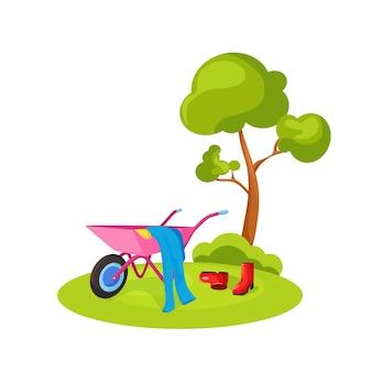 Het begrip landbouw. een boerenwagen. vector illustratie.