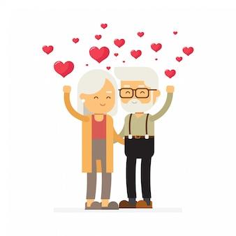 Het bejaarde paar verzendt vrolijke groeten