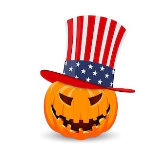 Het belangrijkste symbool van de happy halloween-vakantie. amerikaanse pompoen.