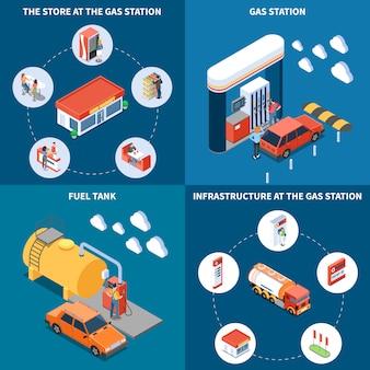 Het benzinestation met infrastructuurvoorwerpen met inbegrip van brandstoftank en opslag isometrisch ontwerpconcept isoleerde vectorillustratie