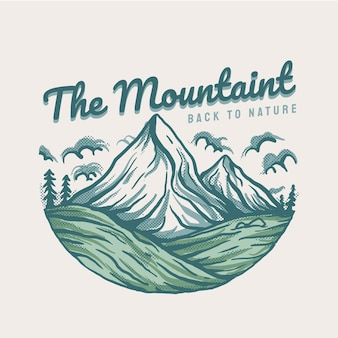 Het bergachtige landschap met handgetekende stijl
