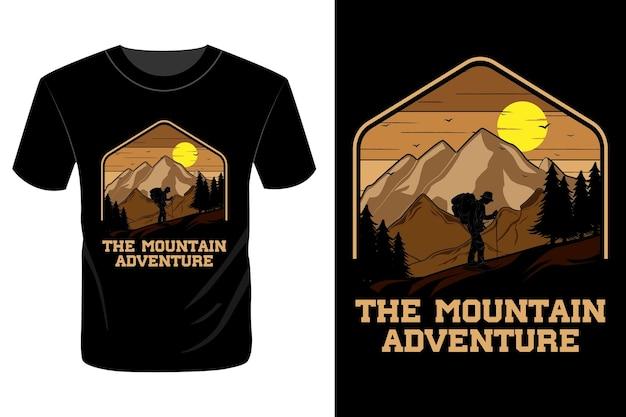 Het bergavontuur t-shirt ontwerp vintage retro