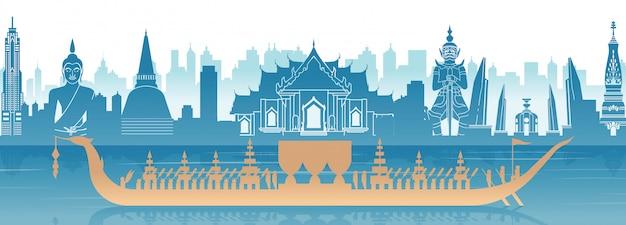 Het beroemde oriëntatiepunt van thailand en koninklijke thaise bootbanner