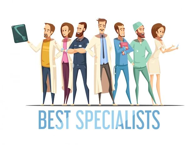 Het beste medische specialistenontwerp met glimlachende artsen en verpleegsters in divers stelt retro beeldverhaalstijl