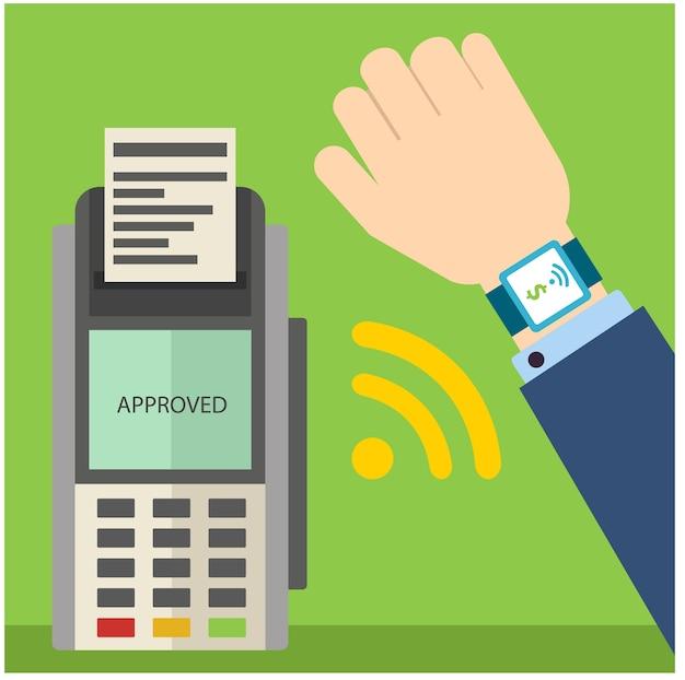 Het betalen van rekening die geld overbrengt door slim horloge