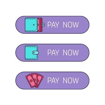 Het betalingsproces. huur, salariskosten. lonen en inkomen. de ontvangst van geld. pictogram portemonnee, portemonnee, portemonnee met geld. het sluiten van het contract. de betaalknop. vector
