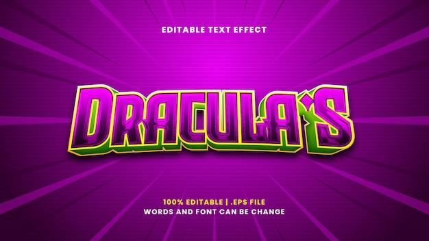 Het bewerkbare teksteffect van dracula in moderne 3d-stijl
