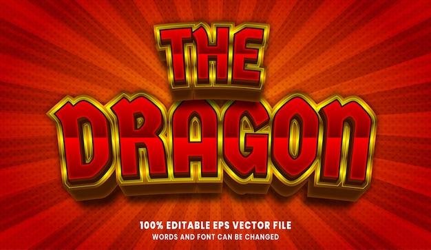 Het bewerkbare tekststijleffect van de draak 3d