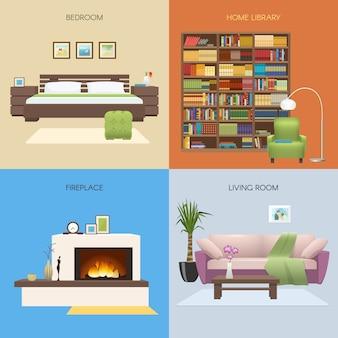 Het binnenland kleurde samenstellingen met slaapkamer en huisbibliotheek open haard en comfortabele zitkamer geïsoleerde vectorillustratie