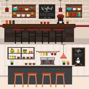 Het binnenland van de coffeeshop met geïsoleerde de machines van barkrukken