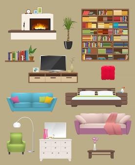 Het binnenland van meubilairelementen met open haardbanken en stoelboekenkast en tv-tribune geïsoleerde vectorillustratie wordt geplaatst die