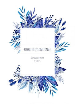 Het blauwe bloemenframe voor uitnodigingskaarten en afbeeldingen.