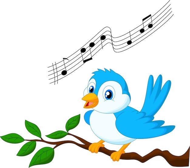 Het blauwe vogel zingen op boomtak
