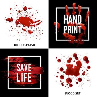 Het bloed ploetert 4 pictogrammen vierkant concept