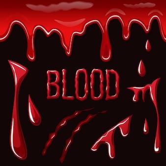 Het bloed ploetert op zwarte achtergrond