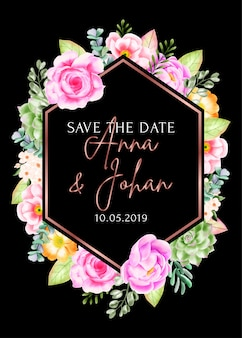 Het bloemenkader van de schoonheid bewaart de datumkaart