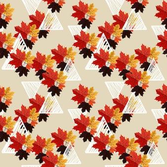 Het bloemenpatroon van de herfst met de geometrische samenvatting van memphis