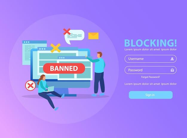 Het blokkeren van het ip-adres van de computer van het wifi-netwerk en het stoppen van beledigende mails vlakke afbeelding samenstelling met verboden bord