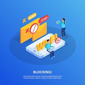 Het blokkeren van ip-adressen van elektronische apparaten van isometrische samenstelling van het wifi-netwerk met gebruikers van laptoptabletten