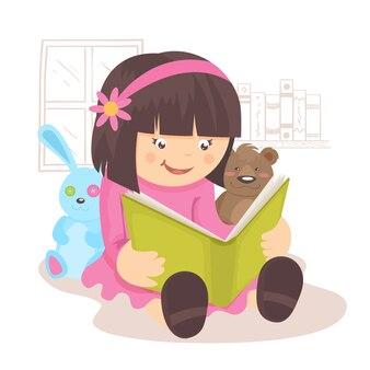Het boek van de meisjeslezing in haar ruimte met speelgoed vectorillustratie