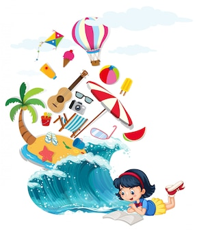 Het boek van de meisjeslezing met de zomerthema