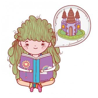 Het boek van de meisjeslezing met kasteel in droombel