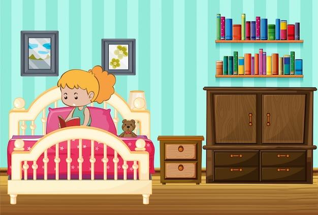 Het boek van de meisjeslezing op haar bed
