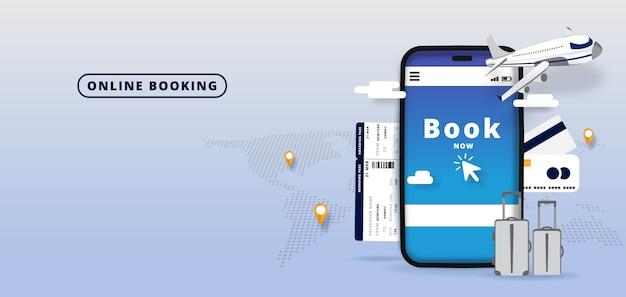Het boeken van online vluchten reizen of ticket. online hotelreservering mobiele app. wereld achtergrond. illustratie