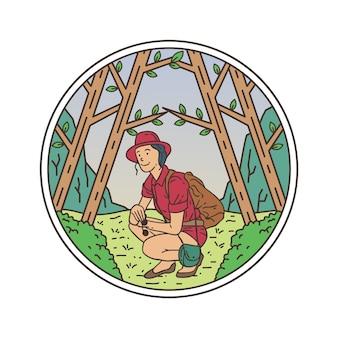 Het bos monoline-badge verkennen