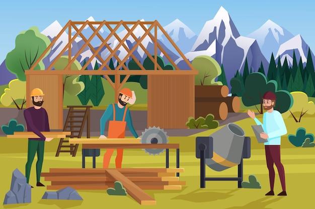 Het bouwen van houten huis proces op bergen achtergrond