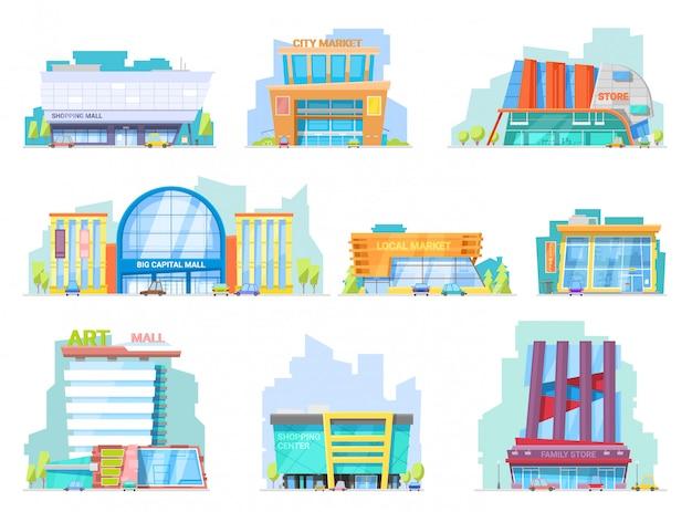 Het bouwen van mall storefront van nieuwbouw mall en winkel gevel illustratie set winkelen officebuilding stadsgezicht en architectonische