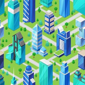 Het bouwen van wolkenkrabber in stadsgezicht isometrische illustratie
