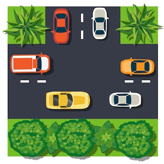 Het bovenaanzicht is een kaart van het moduleblok van het kruispunt van stadsauto's