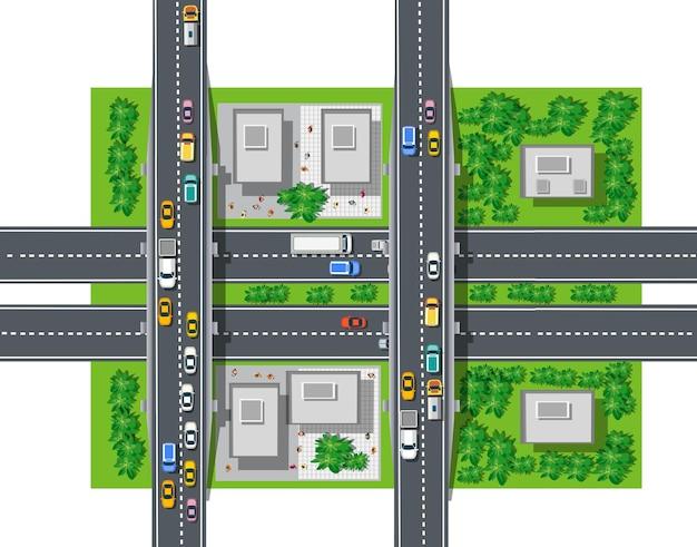 Het bovenaanzicht van verkeer, vervoer, vervoer is een kaart van de straten van het stadsblok
