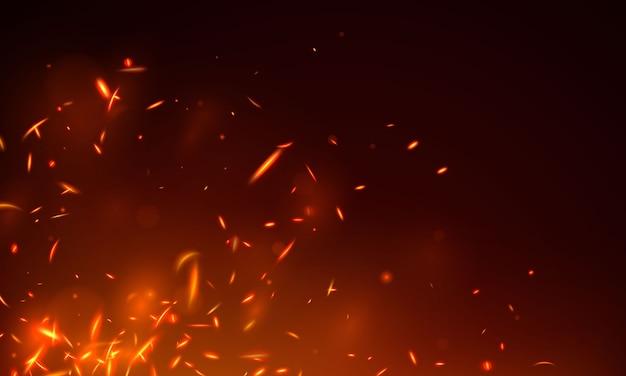Het branden van roodgloeiende vonken realistische brand vlammen abstracte achtergrond