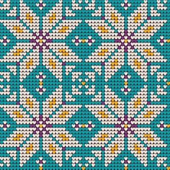 Het breipatroon van oma in de kleuren van de munt en van de lavendel