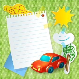 Het briefkaartjabloon van het speelgoedauto papier