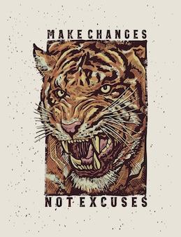 Het brullende boze tijgergezicht met een gedetailleerde tekeningsillustratie