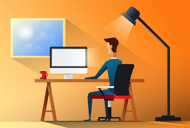 Het bureau van de bedrijfsmensenzitting het werk plaatslaptop achter achtermeningsillustratie