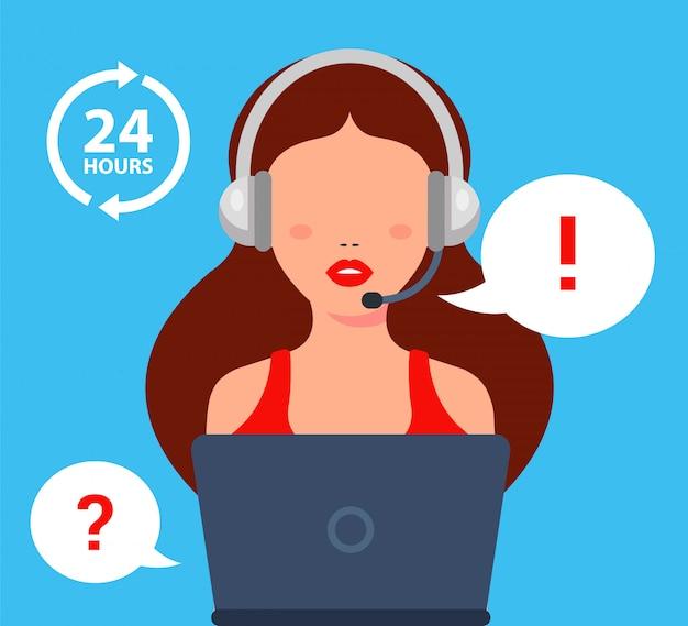Het callcentermeisje beantwoordt de vraag van de klant. vlakke karakter illustratie.
