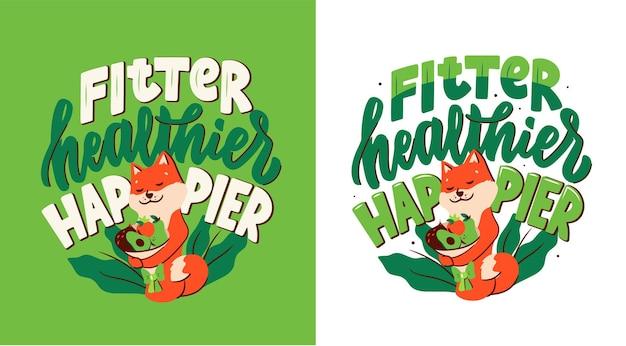 Het cartooneske personage knuffelt een boeket groenten en fruit voor een gezonde levensstijl. de akita-hond met een belettering-zin - fitter, gezonder, gelukkiger.