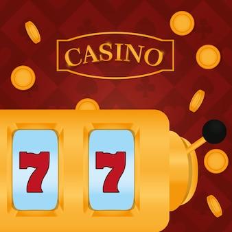 Het casino zevens spel over muntstukken die achtergrond vectorillustratie grafisch ontwerp vallen
