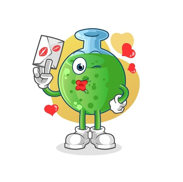 Het chemische glas houdt de mascotte van het liefdesbriefkarakter vast