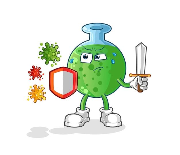 Het chemische glas tegen de mascotte van het virussenkarakter