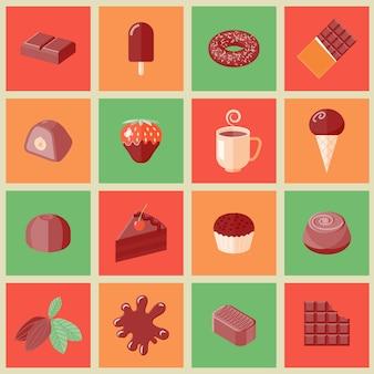 Het chocoladedessert breekt cacao af snijdt vlakke pictogrammen geplaatst geïsoleerde vectorillustratie