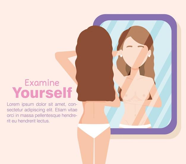 Het cijfer van de vrouw ziet uit op de test van kanker van de spiegelborst