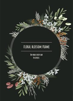 Het cirkel bloemenframe voor uitnodigingskaarten en afbeeldingen.